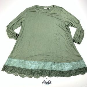 Logo Lori Goldstein Green 3/4 Sleeve Tunic D3528